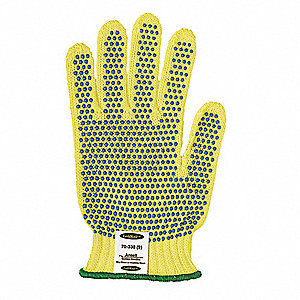 PVC Cut Resistant Gloves, ANSI/ISEA Cut Level 3, Kevlar® Lining, Yellow/Blue, M, PR 1