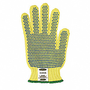 PVC Cut Resistant Gloves, ANSI/ISEA Cut Level 4, Kevlar® Lining, Yellow/Green, L, PR 1