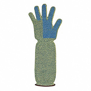 PVC Cut Resistant Gloves, ANSI/ISEA Cut Level 5, Kevlar® Lining, Yellow/Blue, L, PR 1