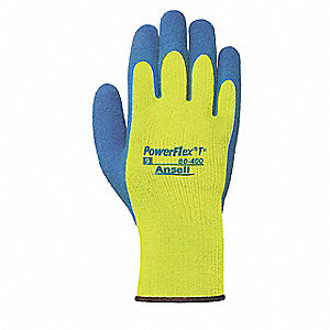 Natural Rubber Latex Cut Resistant Gloves, ANSI/ISEA Cut Level 3, Acrylic Terry Lining, Blue, Yellow