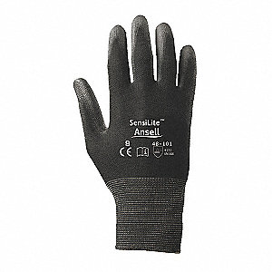 13 Gauge Smooth Polyurethane Coated Gloves, Glove Size: XL, Black