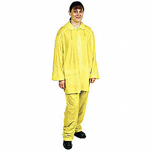 "Unisex Yellow PVC 3-Piece Rainsuit with Detachable Hood, Size: XL, Fits Chest Size: 48"" to 50"""