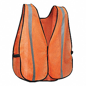 Orange/Red with Silver Stripe High Visibility Vest, ANSI Unrated, Hook-and-Loop Closure, Universal