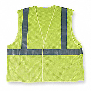 Yellow/Green with Silver Stripe Traffic Vest, ANSI 2, Hook-and-Loop Closure, XL