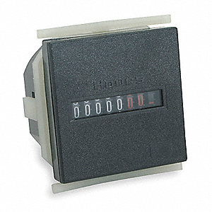 Hour Meter, 120VAC Operating Voltage, Number of Digits: 7, Square Bezel Face Shape