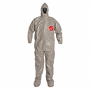 Hooded Chemical Resistant Coveralls with Elastic Cuff, Tychem® 6000 Material, Gray, XL