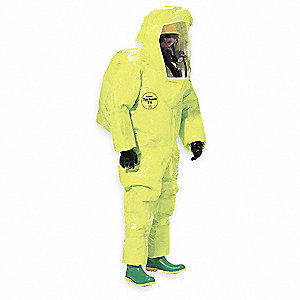 Level A Rear-Entry Encapsulated Suit, Lime Yellow, L, Tychem® 10000 Material