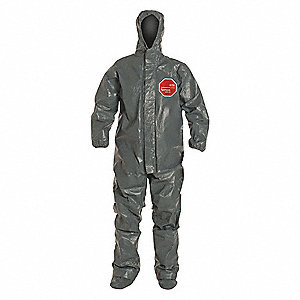 Hooded Chemical Resistant Coveralls with Elastic Cuff, Tychem® 6000 FR Material, Gray, XL