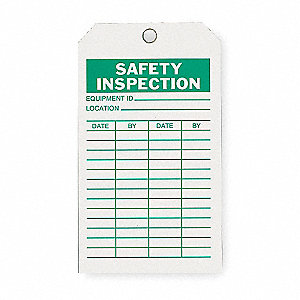 "Economy Polyester Equipment ID___ Location___ Date By Safety Inspection Tag, 7"" Height, 4"" Width"