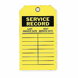 "Service Record Tag, Polyester, Height: 7"", Width: 4"", Yellow"