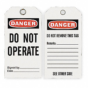 "Danger Tag, Economy Polyester, Do Not Operate, 5-3/4"" x 3"", 25 PK"