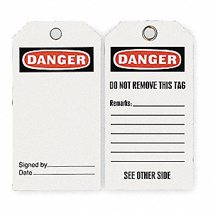 "Danger Tag, Economy Polyester, 5-3/4"" x 3"", 25 PK"