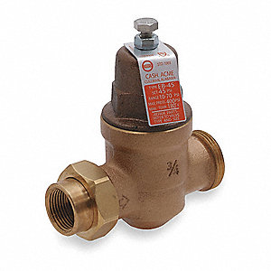 "Water Pressure Reducing Valve, High Capacity Valve Type, Bronze, 3/4"" Pipe Size"