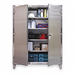 "Storage Cabinet, Stainless Steel, 78"" Overall Height, Assembled"