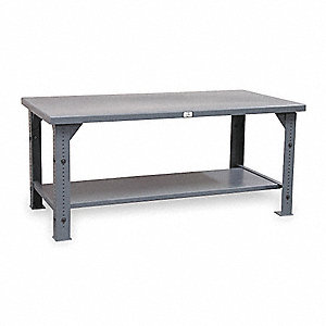 "Workbench, Steel Frame Material, 72"" Width, 36"" Depth  Steel Work Surface Material"