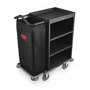 Housekeeping Cart,Black,Steel,3 Shelf