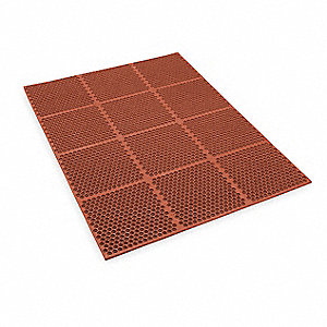 Interlocking Drainage Mat, Nitrile, Red, 4 ft. x 3 ft., 1 EA
