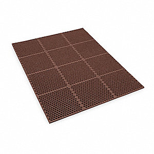 Interlocking Drainage Mat, Nitrile, Brown, 4 ft. x 3 ft., 1 EA