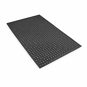 Reversible Drainage Mat, Black, 5 ft. x 3 ft., Rubber, 1 EA