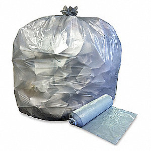 45 gal. HDPE Medium Trash Bags, Coreless Roll, Clear, 250PK