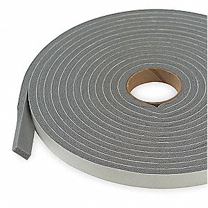 "PVC Closed Cell Foam, Foam Seal, Gray, 17 ft. Overall Length, 3/8"" Overall Width, 3/16"" Overall Heig"