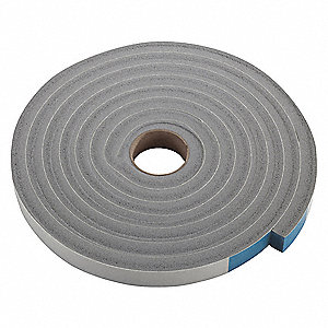 "PVC Closed Cell Foam, Foam Seal, Gray, 10 ft. Overall Length, 3/4"" Overall Width, 1/2"" Overall Heigh"