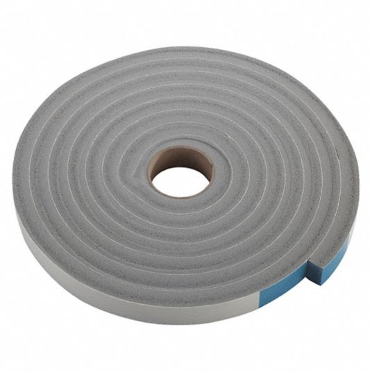 PVC Closed Cell Foam, Foam Seal, Gray, 10 ft Overall Length, 3/4 in Overall Width, 1/2 in Overall He