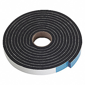 PVC, Sponge Seal, Black, 10 ft Overall Length, 3/4 in Overall Width, 1/4 in Overall Height
