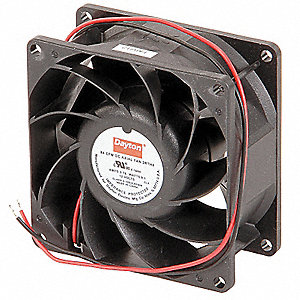 "Square Axial Fan, 3-1/8"" Width, 3-1/8"" Height, 12VDC Voltage"