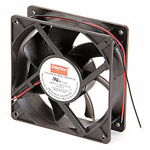 "Square Axial Fan, 4-11/16"" Width, 4-11/16"" Height, 12VDC Voltage"