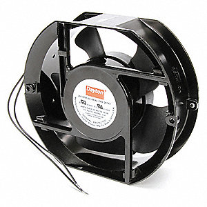 "Round Axial Fan, 5-15/16"" Width, 6-3/4"" Height, 115VAC Voltage"