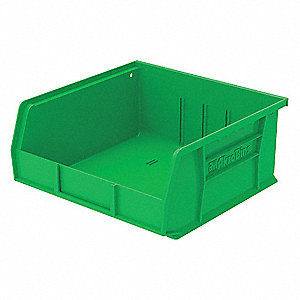 "Hang and Stack Bin, Green, 10-7/8"" Outside Length, 11"" Outside Width, 5"" Outside Height"