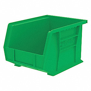 "Hang and Stack Bin, Green, 10-3/4"" Outside Length, 8-1/4"" Outside Width, 7"" Outside Height"