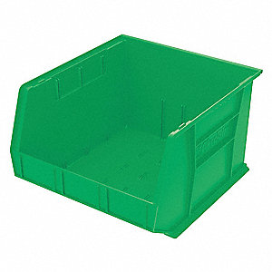 "Hang and Stack Bin, Green, 18"" Outside Length, 16-1/2"" Outside Width, 11"" Outside Height"