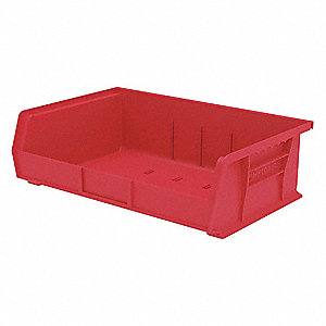 "Hang and Stack Bin, Red, 10-7/8"" Outside Length, 16-1/2"" Outside Width, 5"" Outside Height"