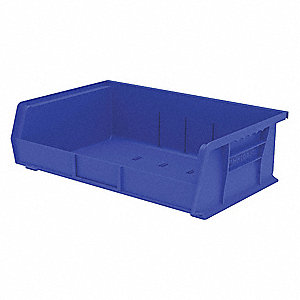 "Hang and Stack Bin, Blue, 10-7/8"" Outside Length, 16-1/2"" Outside Width, 5"" Outside Height"