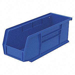 "Hang and Stack Bin, Blue, 10-7/8"" Outside Length, 4-1/8"" Outside Width, 4"" Outside Height"