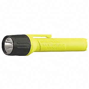 Industrial LED Handheld Flashlight, Plastic, Maximum Lumens Output: 65, Yellow