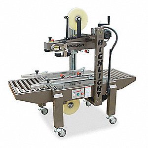 Adjustable Case Sealer, Belt Location Top and Bottom, 75 fpm, Tape Width 1 and 2""