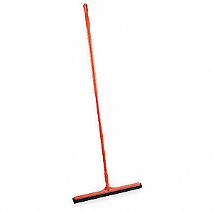 "20""W Straight Double Foam Rubber Floor Squeegee With Handle, Red"