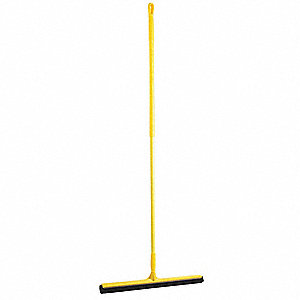 "24""W Straight Double Foam Rubber Floor Squeegee With Handle, Yellow"