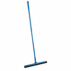 "28""W Straight Double Foam Rubber Floor Squeegee With Handle, Blue"
