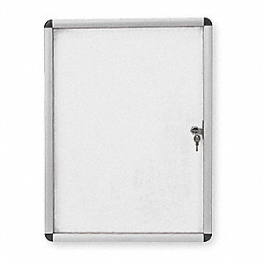 "Magnetic Letter Indoor Enclosed Bulletin Board, Magnetic, 49""H x 37-1/5""W, White"