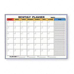 "Magnetic Dry-Erase 1 Month Calendar Planning Board, 36"" Width, 24"" Height"