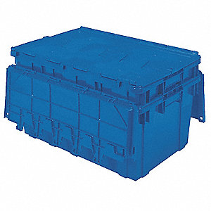 "27""L x 16-15/16""W x 12-1/2""H Polyethylene Attached Lid Container, Blue"