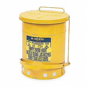Yellow Galvanized Steel Oily Waste Can, 6 gal. Capacity, Foot Operated Self Closing Lid Type