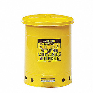 Yellow Galvanized Steel Oily Waste Can, 10 gal. Capacity, Foot Operated Self Closing Lid Type