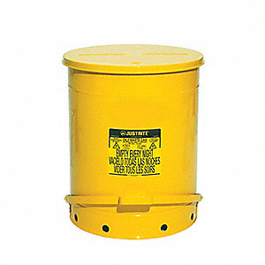 Yellow Galvanized Steel Oily Waste Can, 21 gal. Capacity, Foot Operated Self Closing Lid Type