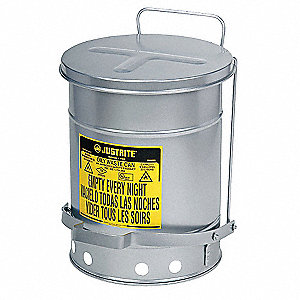 Floor Oily Waste Can, 21 gal., Galvanized Steel, Silver, Foot Operated Self Closing