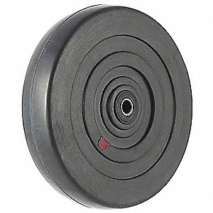 "4"" Caster Wheel, 115 lb. Load Rating, Wheel Width 1"", Rubber, Fits Axle Dia. 5/16"""